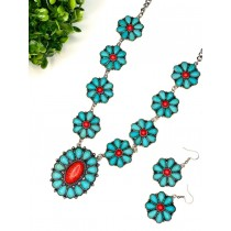 COLAR TURQUESA + RED CONCHO FLOWER